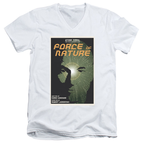 Image for Star Trek the Next Generation Juan Ortiz Episode Poster V Neck T-Shirt - Season 7 Ep. 9 Force of Nature
