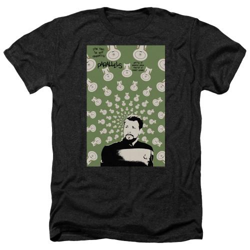 Image for Star Trek the Next Generation Juan Ortiz Episode Poster Heather T-Shirt - Season 7 Ep. 11 Parallels on Black