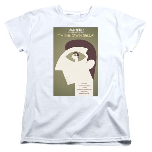 Image for Star Trek the Next Generation Juan Ortiz Episode Poster Womans T-Shirt - Season 7 Ep. 16 Thine Own Self