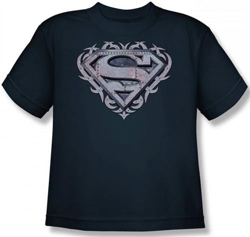 Image for Superman Youth T-Shirt - Tribal Steel Shield Logo