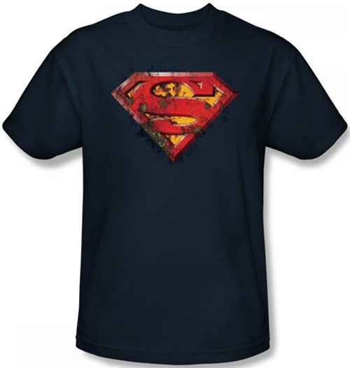 Image Closeup for Superman T-Shirt - Rusted Shield Logo