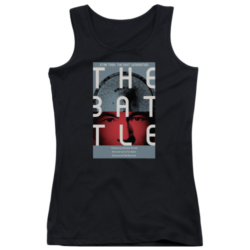 Image for Star Trek the Next Generation Juan Ortiz Episode Poster Juniors Tank Top - Season 1 Ep. 9 the Battle on Black