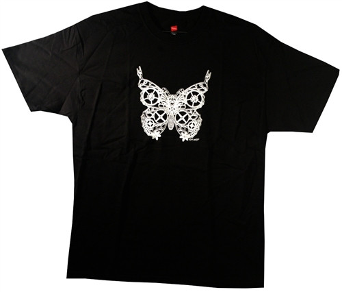 Image Closeup for Screaming Steam Punk Butterfly T-Shirt