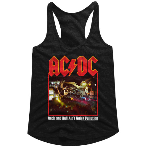 Image for AC/DC Classic Rock and Roll Ain't Noise Pollution Juniors Racerback Tank Top