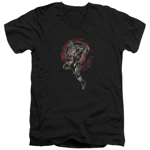 Image for Justice League Movie V Neck T-Shirt - Cyborg