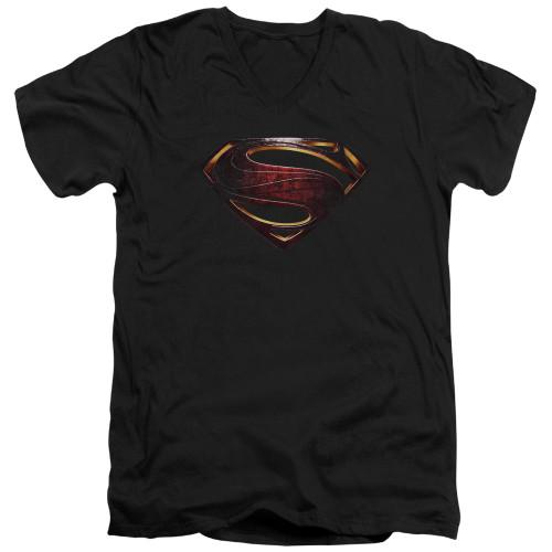 Image for Justice League Movie V Neck T-Shirt - Superman Logo