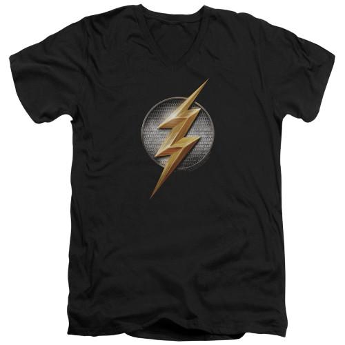 Image for Justice League Movie V Neck T-Shirt - Flash Logo