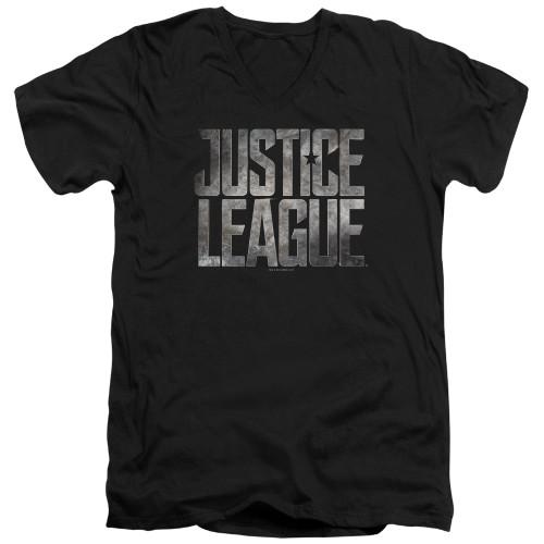 Image for Justice League Movie V Neck T-Shirt - Metal Logo
