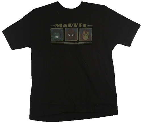 Image Closeup for Marvel T-Shirt - 3 Faces