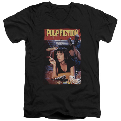 Image for Pulp Fiction V Neck T-Shirt - Classic Mia Poster