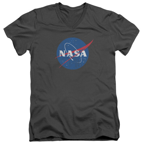Image for NASA V Neck T-Shirt - Meatball Logo Distressed