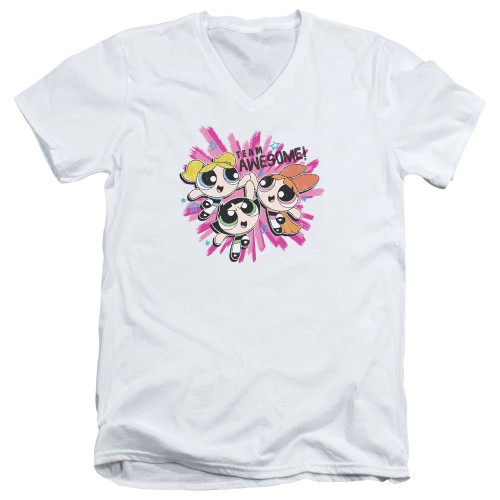 Image for The Powerpuff Girls V Neck T-Shirt - Team Awesome