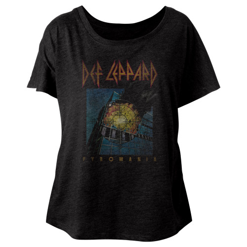 Image for Def Leppard Faded Pyromania Juniors Dolman Top