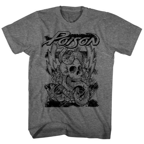 Image for Poison T-Shirt - Skull Snake Lightning