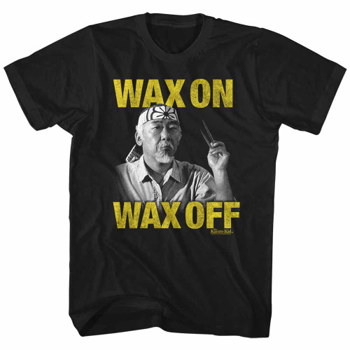 Image for Karate Kid T-Shirt - Wax On/Off Yellow Text