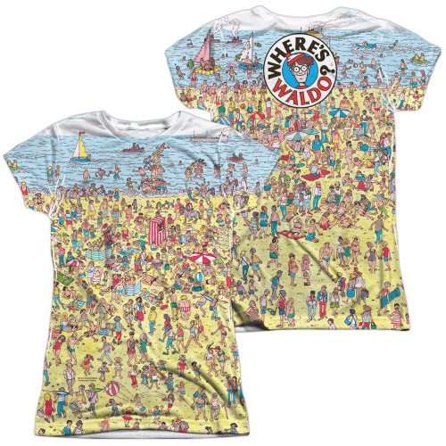 Image for Where's Waldo Girls Sublimated T-Shirt - Beach Scene