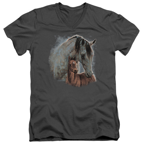 Image for Wild Wings Collection V Neck T-Shirt - Painted Horses