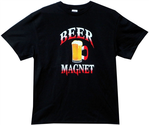 Image Closeup for Beer Magnet T-Shirt