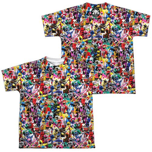Image for Mighty Morphin Power Rangers Youth Sublimated T-Shirt - Crowd of Rangers