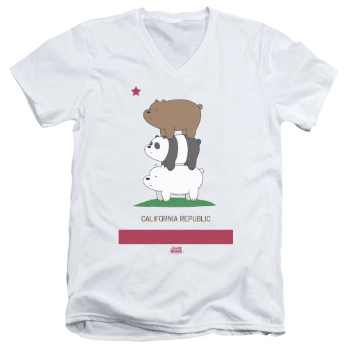 Image for We Bare Bears V Neck T-Shirt - Cali Stack