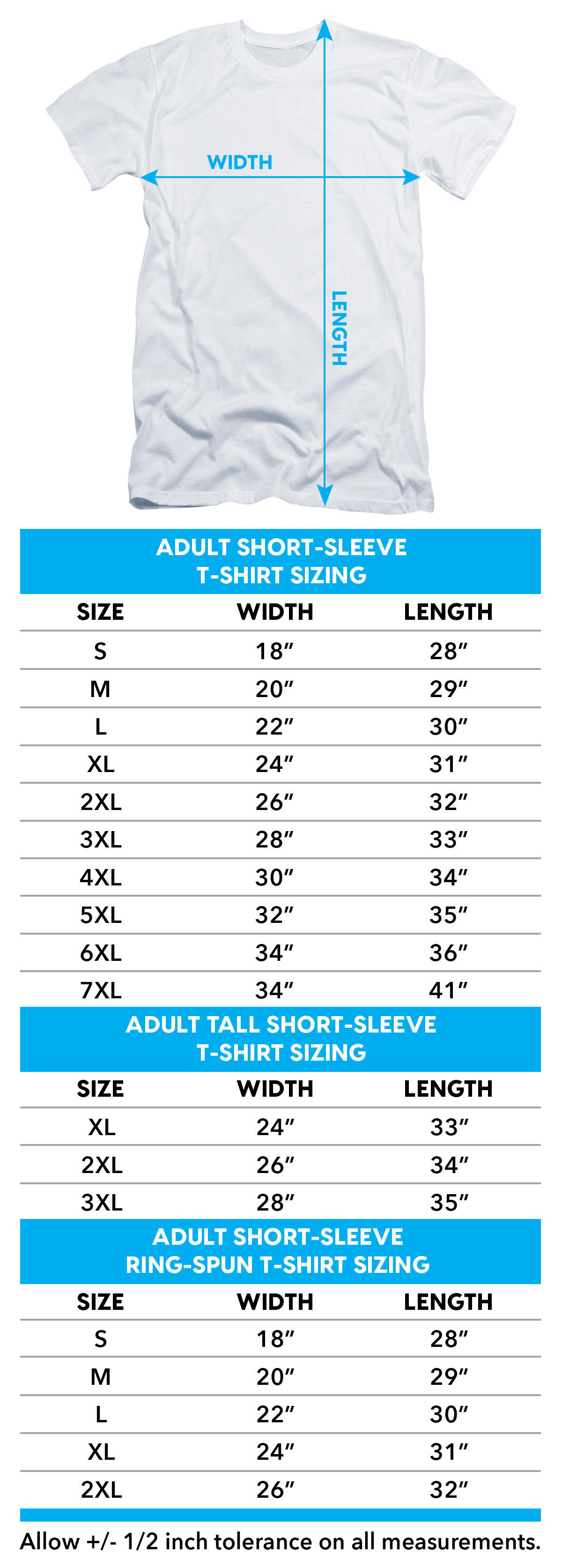 Size chart for I am Weasel Smug T-Shirt TRV-CN133-AT