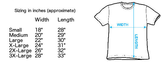 Sizing chart for AC/DC Back in Black T-Shirt IMP-ACDC09