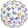 Swarovski 86001 8mm Pave Ball Bead w/ Crystal AB Chatons on White base (12 pieces)