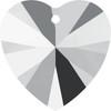 Swarovski 6228 14mm Xilion Heart Pendants Crystal Light Chrome