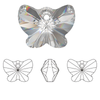 On Hand: Swarovski 6754 18mm Butterfly Pendant Jonquil (3  pieces)