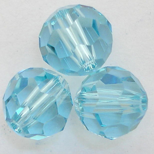 Swarovski 5000 8mm Round Beads Aquamarine  (12 pieces)