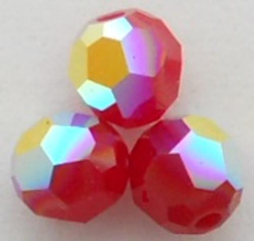Swarovski 5000 8mm Round Beads Dark Red Coral AB  (12 pieces)