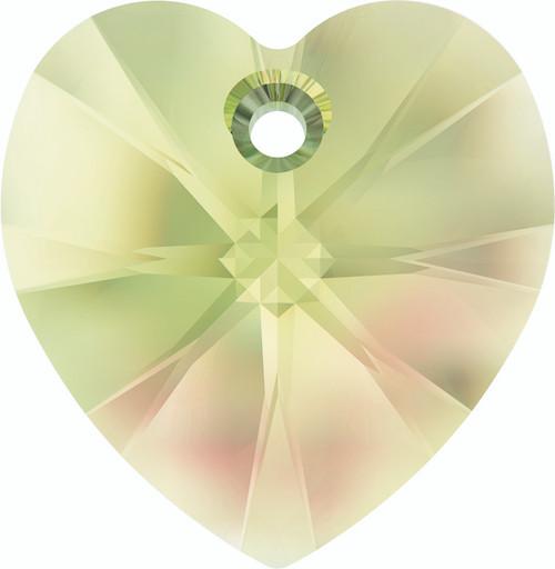 Swarovski 6228 28mm Xilion Heart Pendants Crystal Luminous Green (16 pieces)