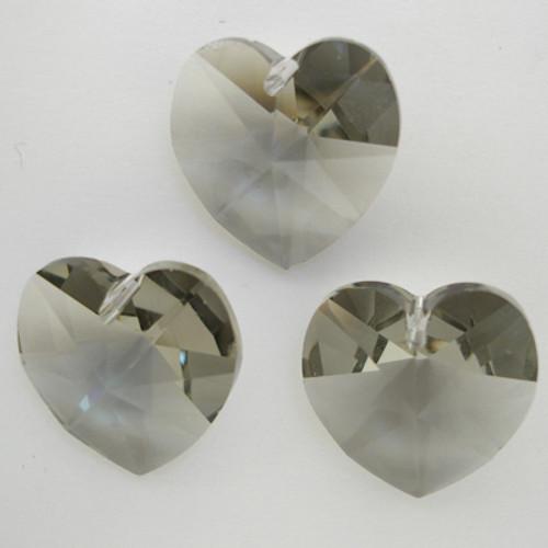 Swarovski 6228 14mm Xilion Heart Pendants Black Diamond (9 pieces)