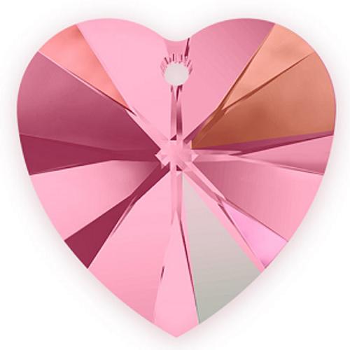 Swarovski 6228 14mm Xilion Heart Pendants Light Rose AB (144 pieces)