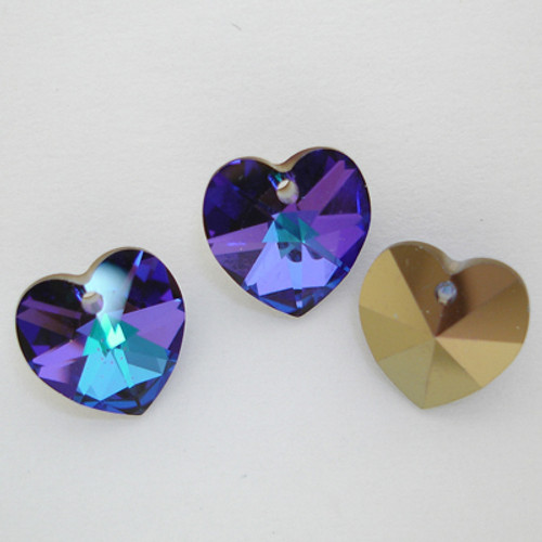 Swarovski 6228 18mm Xilion Heart Pendants Crystal Heliotrope (72 pieces)