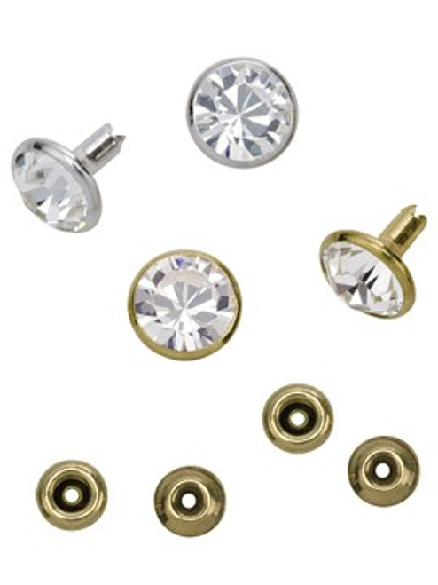 Swarovski Gold 53006 39ss (~8.3mm) Crystal Rivets with 5mm shank: Fuchsia