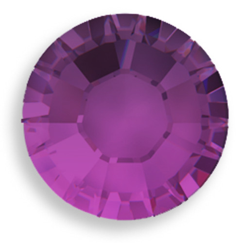 Swarovski 2028 10ss(~2.75mm) Xilion Flatback Amethyst    Hot Fix