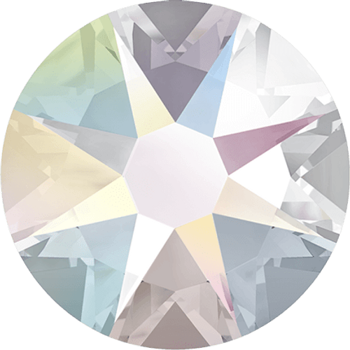 Swarovski 2028 16ss(~3.90mm) Xilion Flatback Crystal AB   Hot Fix