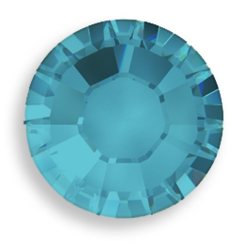 Swarovski 2028 34ss(~7.2mm) Xilion Flatback Blue Zircon Satin  Hot Fix