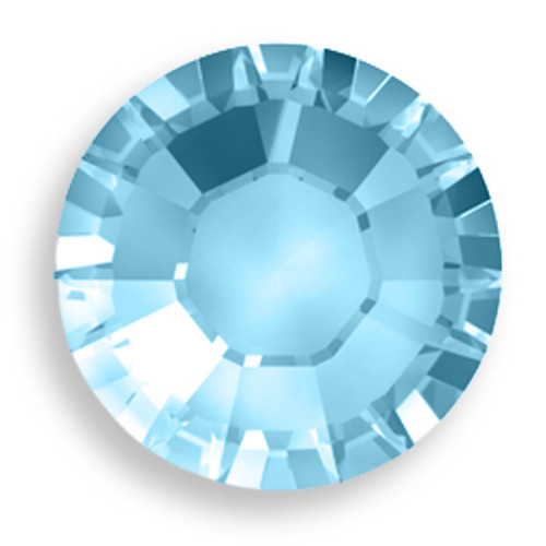 Swarovski 2028 8ss(~2.45mm) Xilion Flatback Aquamarine    Hot Fix