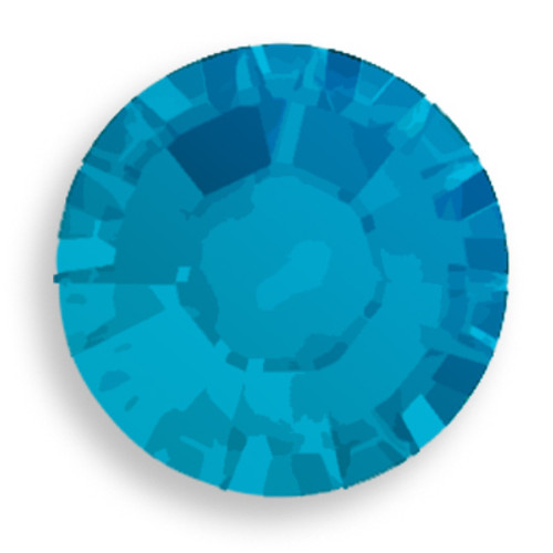 Swarovski 2028 8ss(~2.45mm) Xilion Flatback Caribbean Blue Opal  Hot Fix