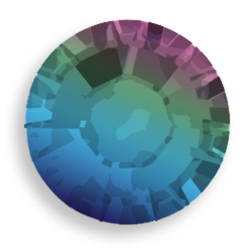 Swarovski 2028 8ss(~2.45mm) Xilion Flatback Crystal Meridian Blue  Hot Fix