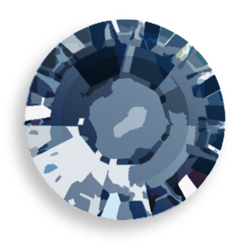 Swarovski 2028 8ss(~2.45mm) Xilion Flatback Crystal Metallic Blue  Hot Fix
