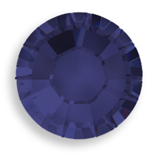 Swarovski 2028 8ss(~2.45mm) Xilion Flatback Dark Indigo   Hot Fix