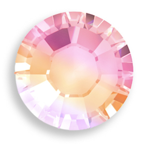 Swarovski 2058 20ss(~4.7mm) Xilion Flatback Light Rose AB. Light Rose is a beautiful light pink color that is in-between the deeper pink tone of Rose and the baby pink hue of Rosaline, furthermore it is recognized as the breast cancer awareness color. The AB coating, which stands for Aurora Borealis, adds a highly iridescent effect over half of the Swarovski Xilion Flatback Crystal that increases the brilliance and shine with shimmering tints of yellow, pink and blue sparkle.