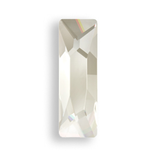 Swarovski 2555 15mm Baguette Flatback Crystal Silver Shade