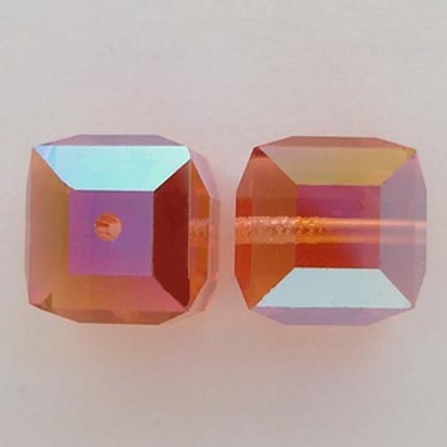 Swarovski 5601 6mm Cube Beads Padparadscha AB