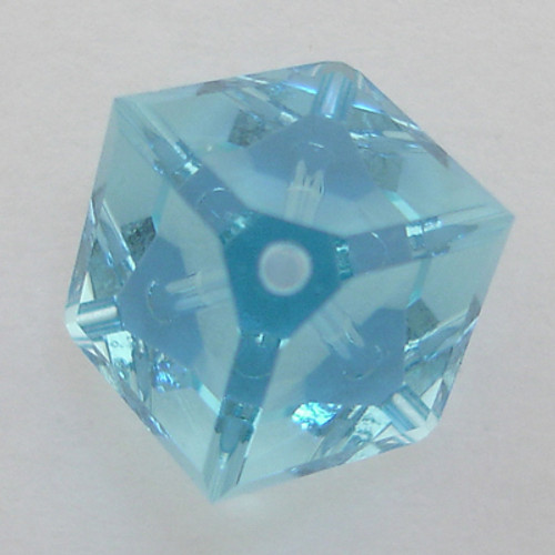Swarovski 5600 8mm Offset Cube Beads Aquamarine