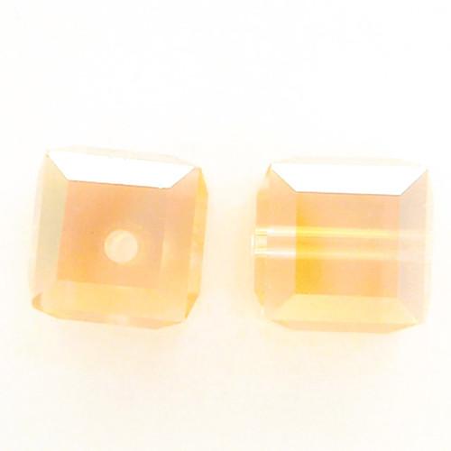 Swarovski 5601 4mm Cube Beads Light Peach AB