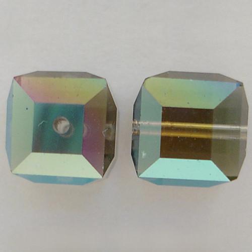 Swarovski 5601 6mm Cube Beads Black Diamond AB